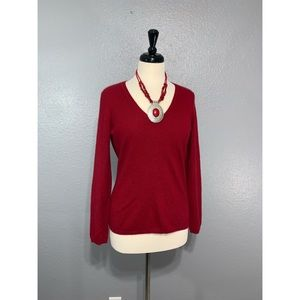 LORD & TAYLOR | Red V Neck 100% Cashmere Sweater M